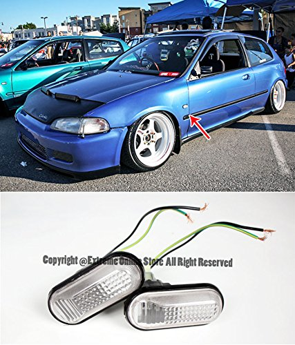 For 92-95 Honda Civic | 94-01 Acura Integra Front Bumper Fender Replacement CLEAR DOME Reflector Side Marker Lights Turn Signal Lamps 1992 1993 1994 1995 1996 1997 1998 1999 2000 2001 SI EG6 DC2