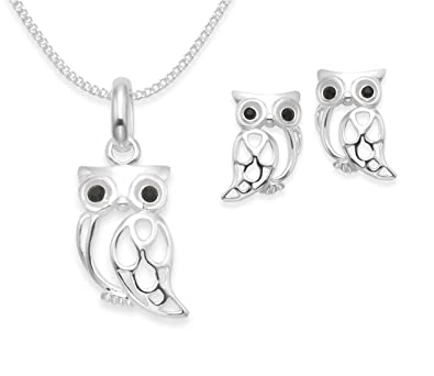 Sterling silver owl necklace and earring set 16 silver chain sterling silver owl necklace and earring set 16quot silver chain black cubic zirconia mozeypictures Image collections