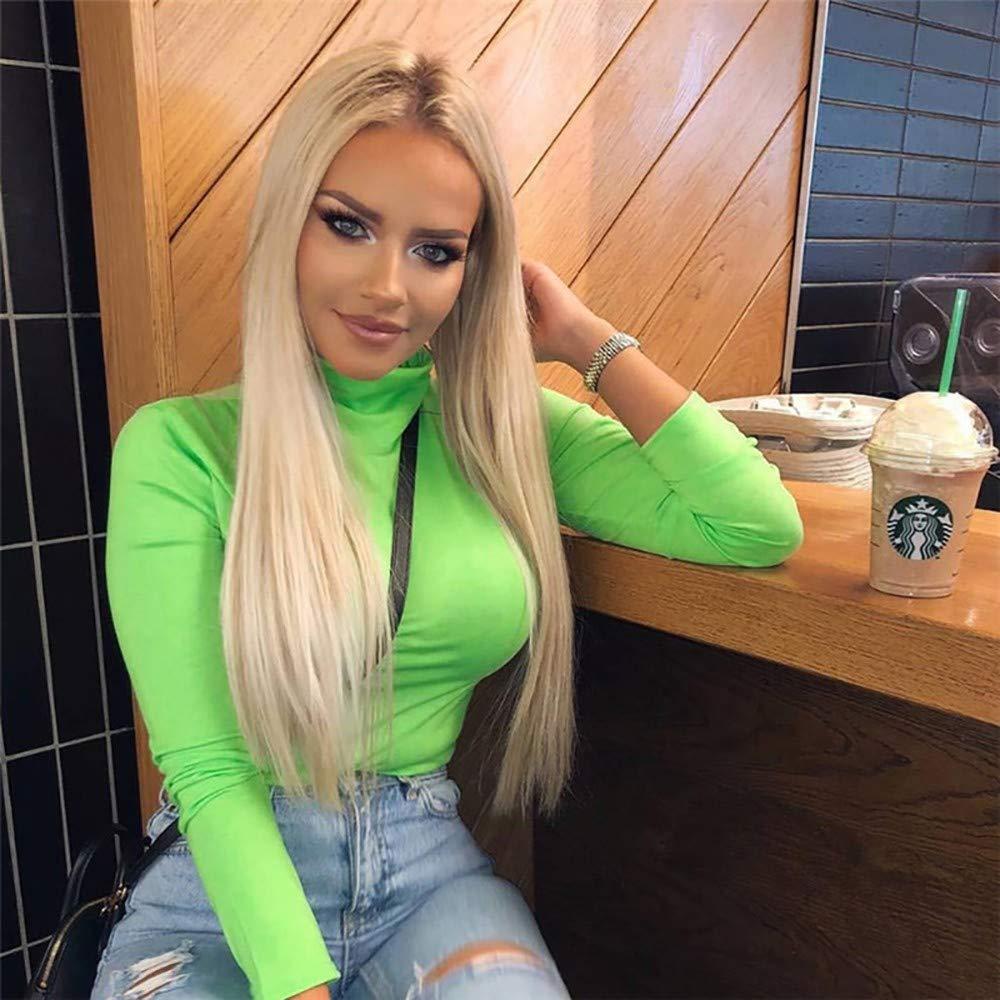 HDGJH Women Hot Style New Fluorescein Slim High Neck Long Sleeve T-Shirt
