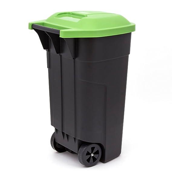 curver - Contenedor de Basura con Ruedas Cubo de Basura Color Negro/Verde 110 Litros: Amazon.es: Hogar