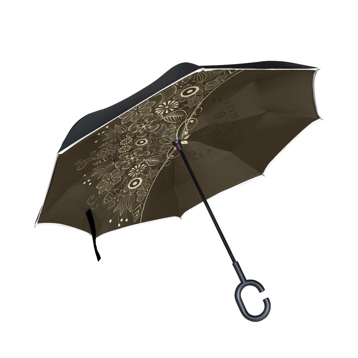 leisisiダブルレイヤー風防止、UVプルーフ折りたたみ逆逆傘旅行傘C形状ハンドル B079S222QL FXS-02
