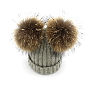 Surprising Day Women Winter Caps Knitted Wool Cotton Hats Two Pom Poms  Beanies Bonnet Girls Female 4a92fd3db72