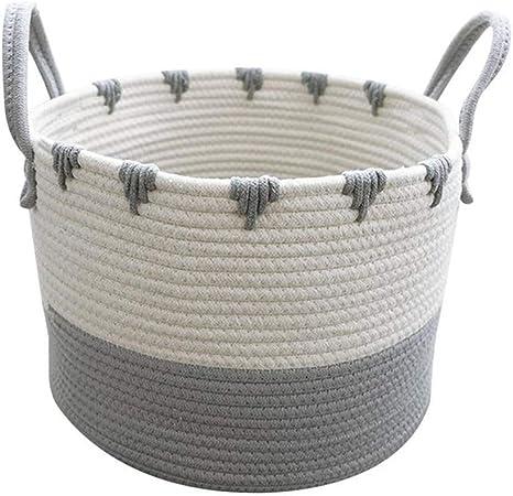 HBIAO Cestos de Lavadora para Ropa Sucia Tejidas en algodón, Canasta de Almacenamiento de Cuerda de algodón Grande Canasta de Almacenamiento doméstica Gris,S: Amazon.es: Hogar