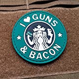 I Love Guns and Bacon Morale Patch PVC - 1 Pack