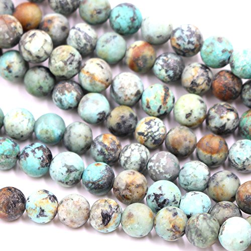 African Turquoise Gem (Natural African Turquoise Round 10mm 6mm 8mm for Necklace Gemstone Loose Beads (matte 8mm))