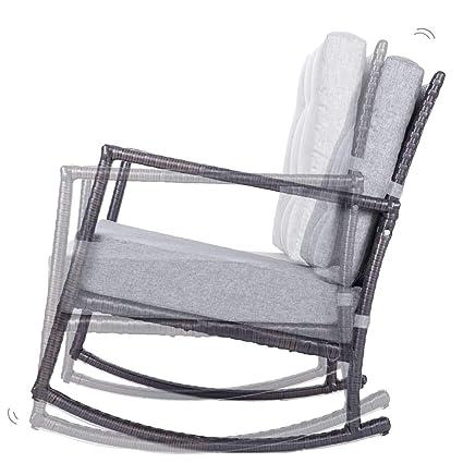 Remarkable Amazon Com Patio Rattan Rocking Chair Knocbel Wicker Seat Machost Co Dining Chair Design Ideas Machostcouk