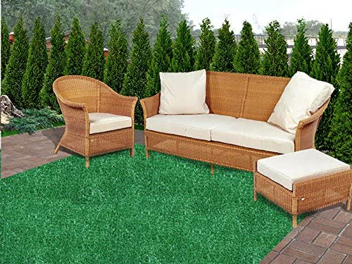 Koeckritz Rugs 11 X11 Square – Green 1 4 Thick – 8 oz. Artificial Grass Turf Carpet Indoor Outdoor Area Rug with Finished Edges