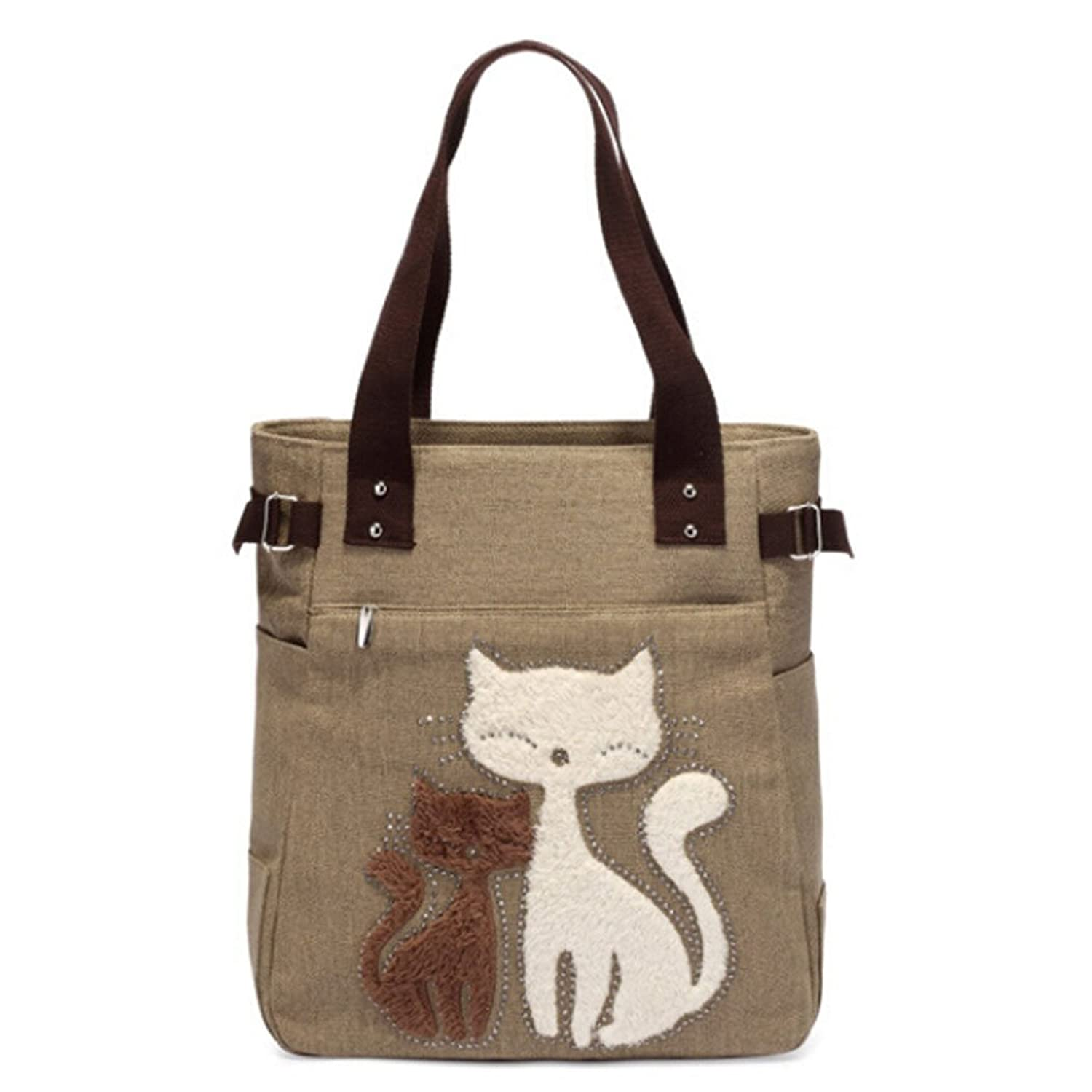 Hibelief Women Canvas Handbag Shoulder Bags Cat Totes For Girls