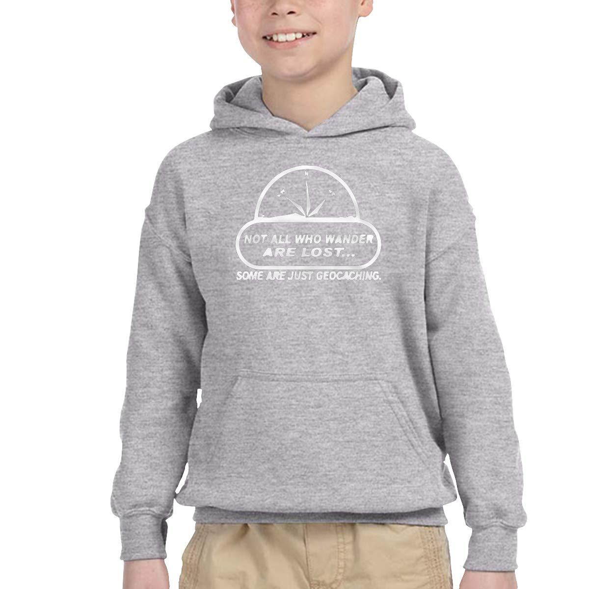 2-6 Year Old Childrens Hooded Pocket Sweater Classical Elegance and Originality Not All Wander Lost Geocaching Logo Gray 2T