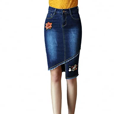 Embroidery Denim Skirt Female New Ladies High Waist Long Skirts