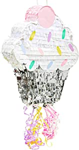 Small Cupcake Pinata for Birthday Party Supplies (15 x 13 x 3 Inches)