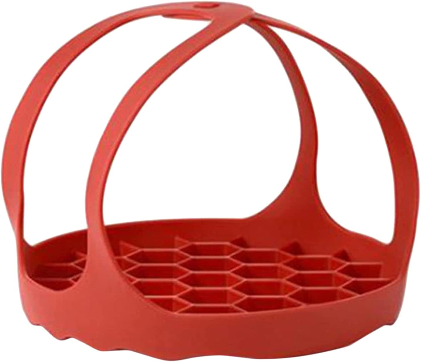 DONGMING Silicone Food Steamer Basket, with Handle Pressure Cooker Sling Steamer Insert Silicone Egg Ring,Red,7.99 inch