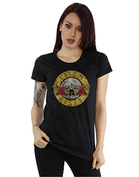 Guns N Roses Womens Vintage Bullet Logo T-Shirt Medium Black