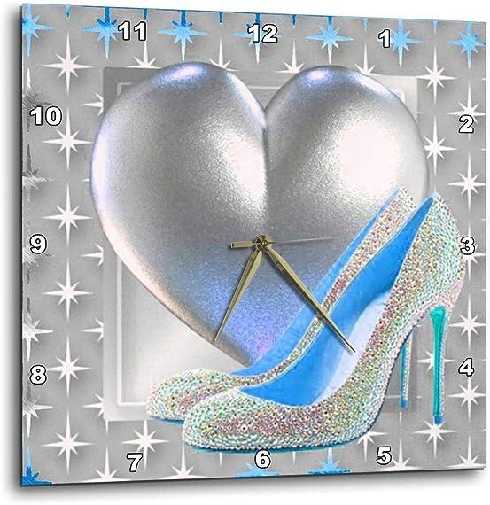 3dRose DPP_108156_1 Silver Blue Toned Heart Bling Shoe Wall Clock, 10 by 10