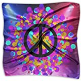 Peace Sign Neon Women's Fashion Print Square Scarf Neckerchief Headdress M