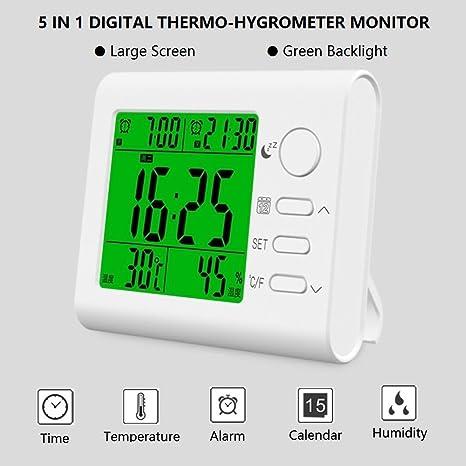 Yesee Termómetro, higrómetro, doble alarma reloj, calendario y visualización de tiempo, 5