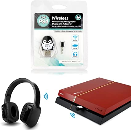 Amazon Com Penguin United Bluetooth Wireless Gaming Headphone Adapter With Mic For Sony Ps4 Home Audio Theater