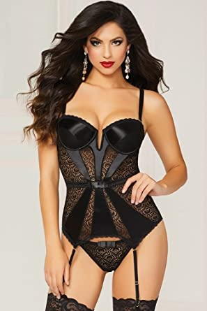 cbe04ae4bf1 Seven Til Midnight Pleasure Principle Lace and Satin Bustier Set ...