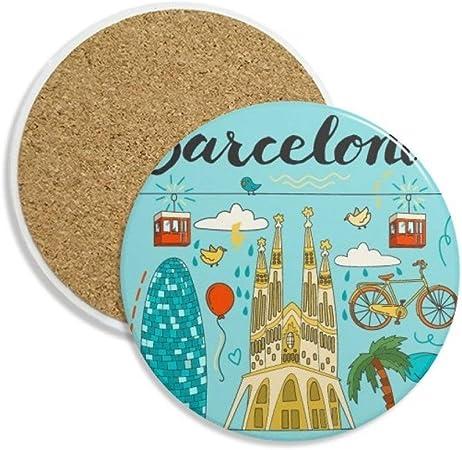 Barcelona España sagrada familia piedra bebida posavasos de cerámica para taza regalo 2pcs: Amazon.es: Hogar