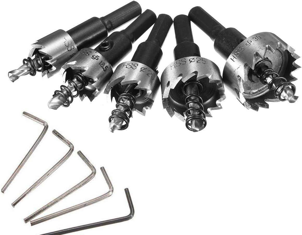 Coronas Perforadoras MOHOO Juego de 5PCS Sierras de Corona 16-30 mm HSS para Metal Agujero de Acero de Alta Velocidad Broca Corona