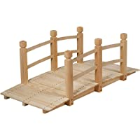 Lares & Penates 5 Ft Natural Wood Decorative Garden Bridge with Railings, Arch Wooden Bridges for Backyard Walkway, Courtyard, Creek, Fish Pond and Flowers, Outdoor Decor