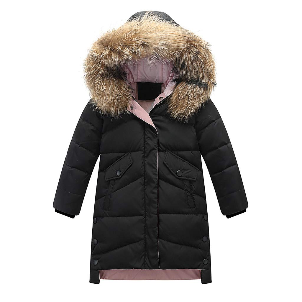 HebeTop Big Girls Boys Winter Parka Down Coat Puffer Jacket Padded Overcoat with Fur Hood (4Y-12Y) Black by ▶HebeTop◄➟HOT SALES