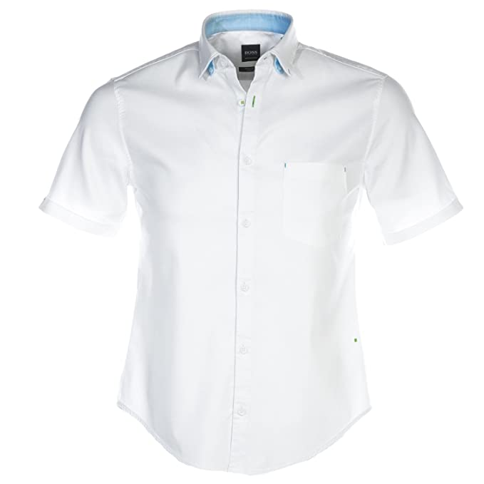 966a57408 Hugo Boss Shirt - Mens Bayni_R Short Sleeve Shirt in White: Amazon.co.uk:  Clothing