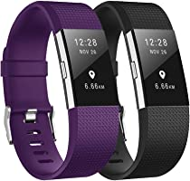 Fundro Replacement Bands Compatible with Fitbit Charge 2, 2-Pack Silicone Sport Bracelet Strap Replacement Breathable...
