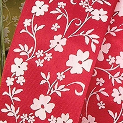 Red with White Small Flower Print Taffeta Wired Craft Ribbon 1.5