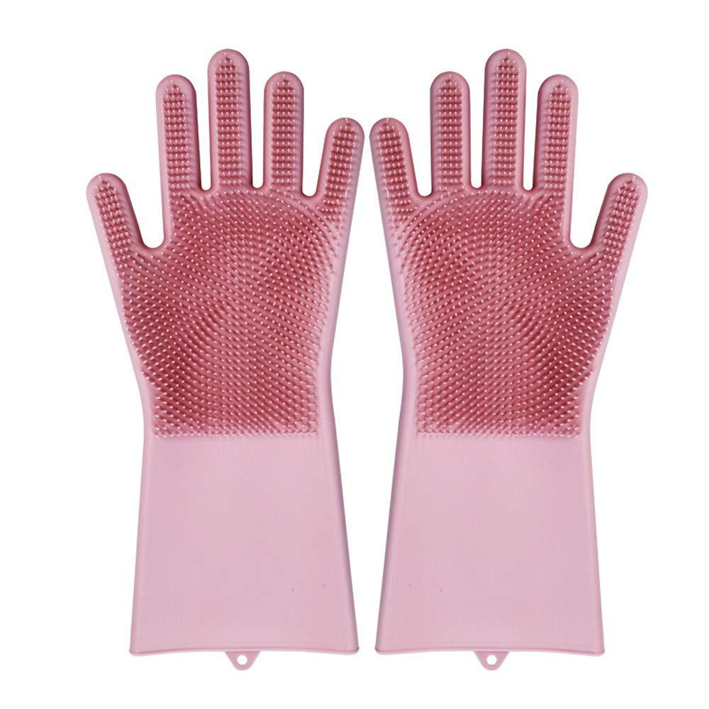 Moginp Wiederverwendbare Silikonhandschuhe Reinigungsbürste Hitzebeständig Handschuhe Freesize) MOGDF5024