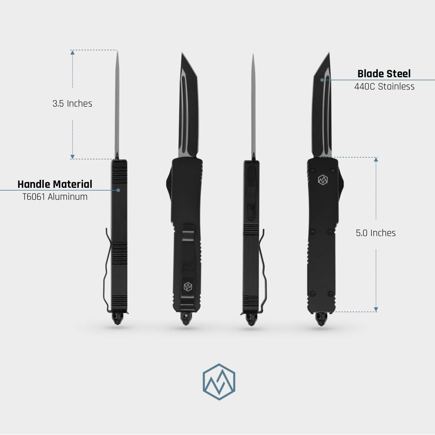 OTF Double Action Safety Knife (Matte Black & Black Tanto Blade) by OTF (Image #3)