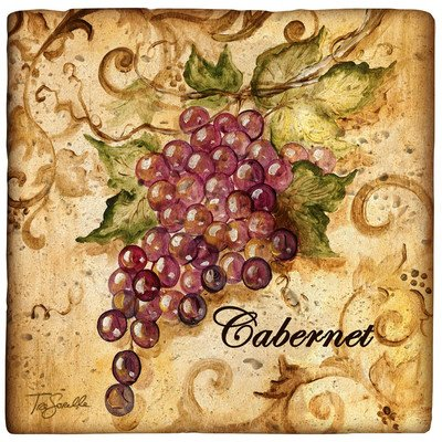 Ambiance Wine Grapes Travertine Coaster Set (Set of 4) ()
