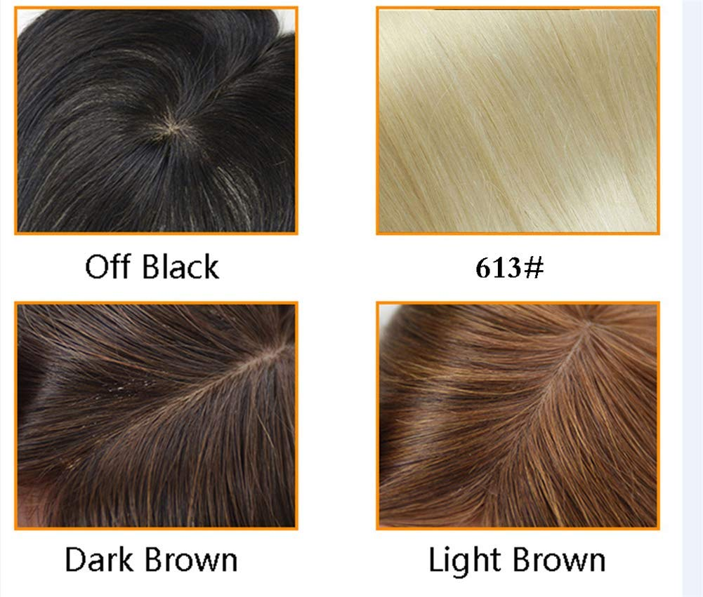 Free Parting Human Hair Clip in Toppers for Women, 6''x 6.7'' Large Mono Crown Topper Hairpieces for Thinning Hair, 16'' Dark Brown by Susanki (Image #2)
