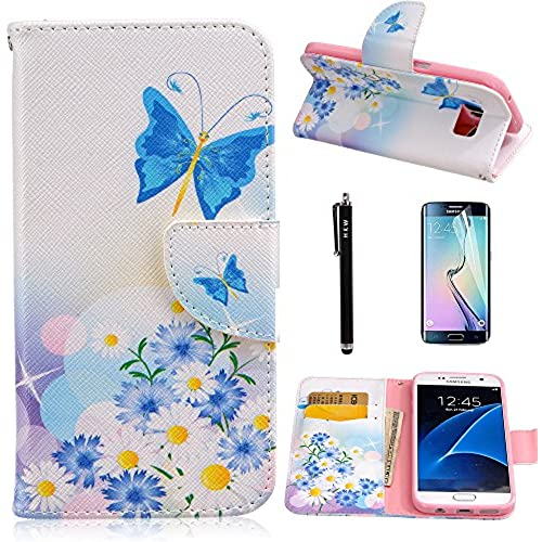 S7 Edge Case,Galaxy S7 Edge Case,HKW(TM) Butterfly Blossom Folio PU Leather flip wallet Case cover with Card Holder Sales