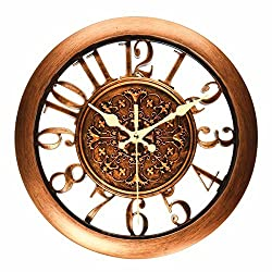 Foxtop Silent Non Ticking 11 Inch Quartz Decorative Retro Battery Operated Wall Clock for Living Room, Kitchen, Bedroom (Contour Design, Arabic Numeral Display, Copper Color)