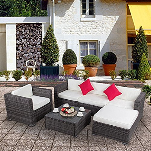 6-Piece Patio Wicker Sectional Furniture Set-Outdoor Rattan Sofa Set with a Table (Modular Furniture Rattan)