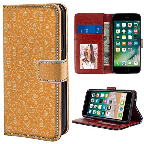 Leather Case Fit for Apple iPhone 6 & 6S (4.7 Version) with Card Holder Case Harvest Pattern with Pumpkin Leaves and Swirls on Orange Backdrop Halloween Inspired Orange White -