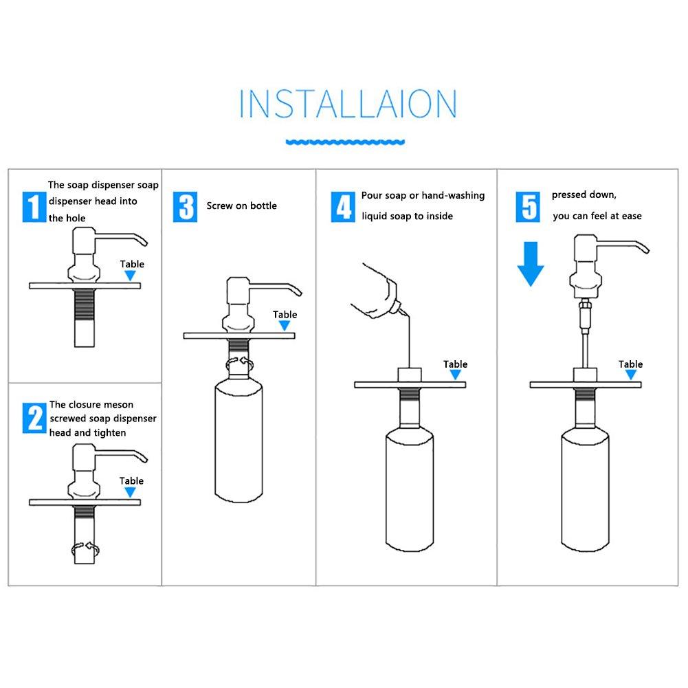 T-MEKA Stainless Steel Built in Sink Soap Dispenser, Kitchen Countertop Soap Dispenser, Easy Installation - - Amazon.com