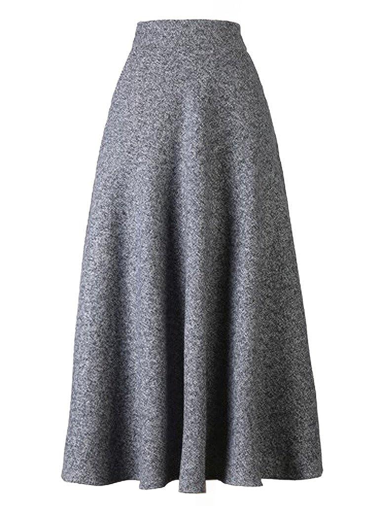 fe97bd7ef Choies Women's High Waist A-line Flared Long Skirt Winter Fall Midi Skirt  at Amazon Women's Clothing store