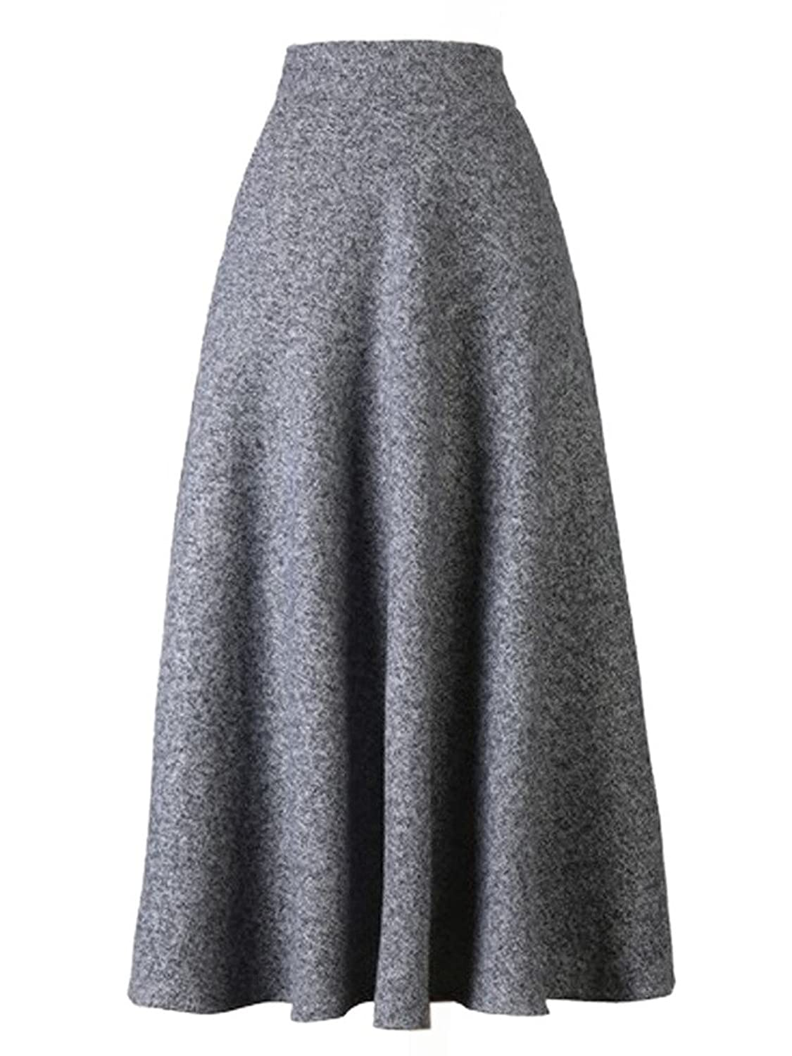 Retro Skirts: Vintage, Pencil, Circle, & Plus Sizes Choies Womens High Waist A-line Flared Long Skirt Winter Fall Midi Skirt $33.99 AT vintagedancer.com