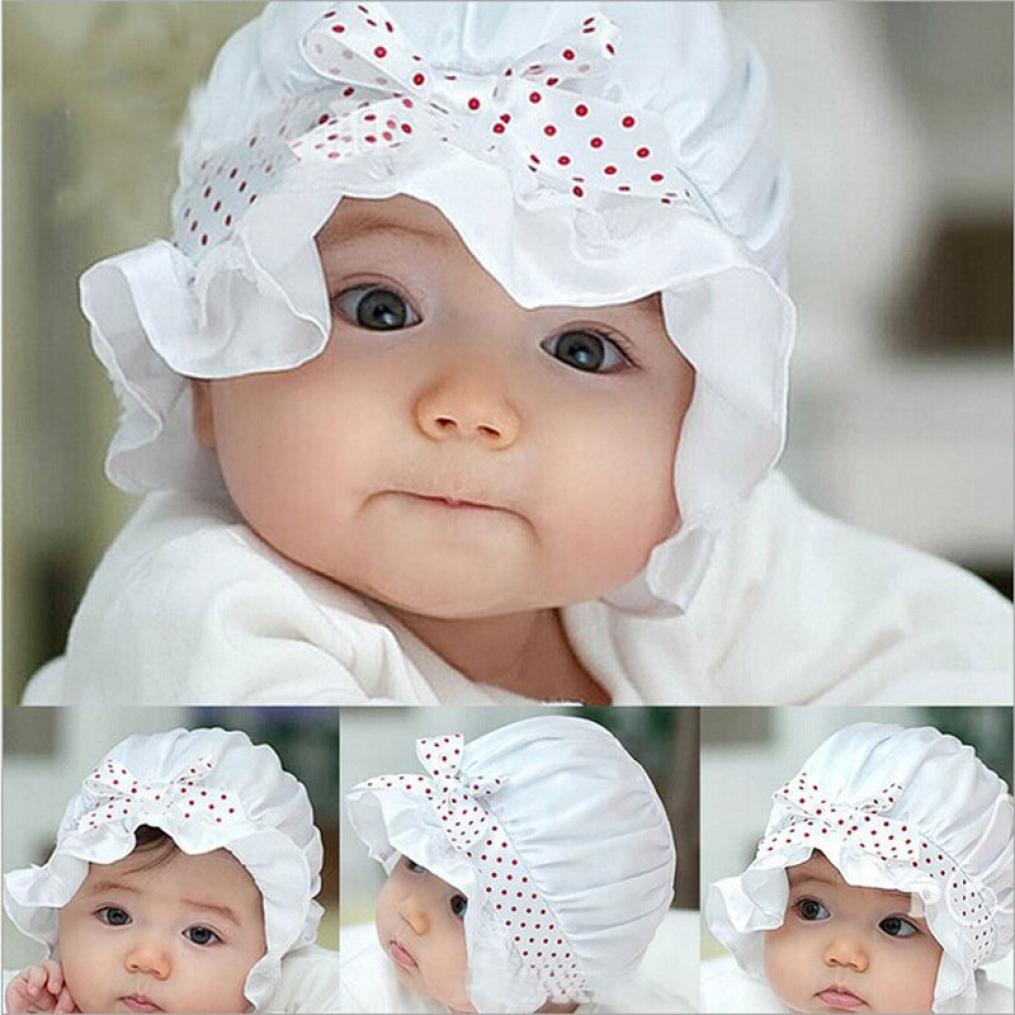 DATEWORK Newborn Baby Girl Boy Polka Dots Beanie Hat Cap 2-12 Months White
