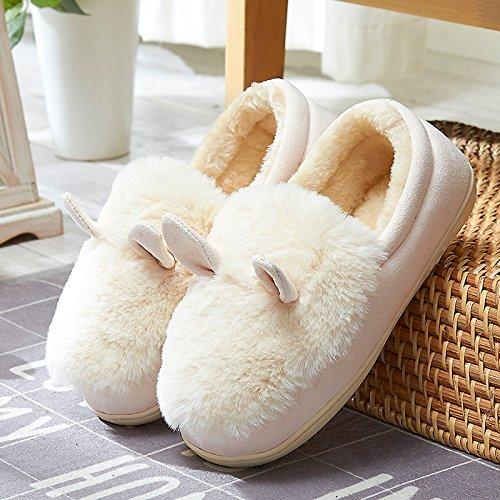 Y-Hui autunno e inverno con spesse pantofole di cotone borsa di slittamento fondo Casa Arredamento casa scarpe caldo,40/41 (adatto per 39/40 piedi usura),Mi Bai (Quan Bao)