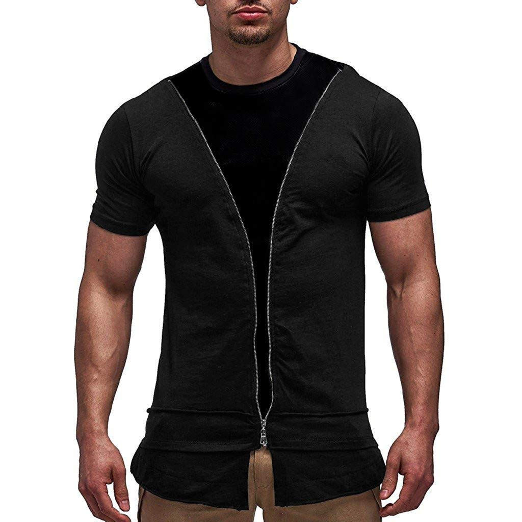JIUDASG Men Tee Zipper T-Shirt Short Sleeve Crew Neck Muscle Basic Top Slim Fit