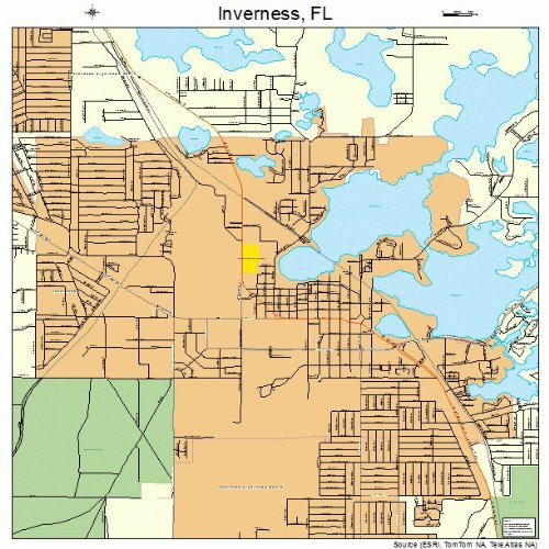 Inverness Florida Map.Amazon Com Large Street Road Map Of Inverness Florida Fl