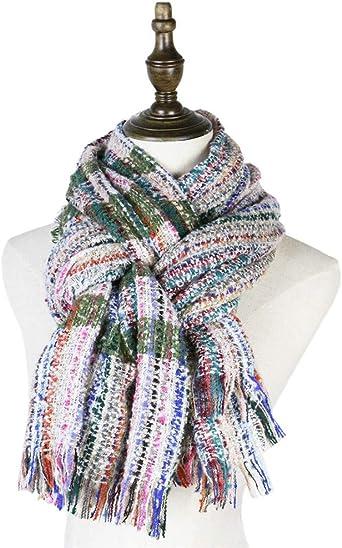 AiNaMei Bufanda gruesa de mantón a cuadros de otoño e invierno de hombres y mujeres