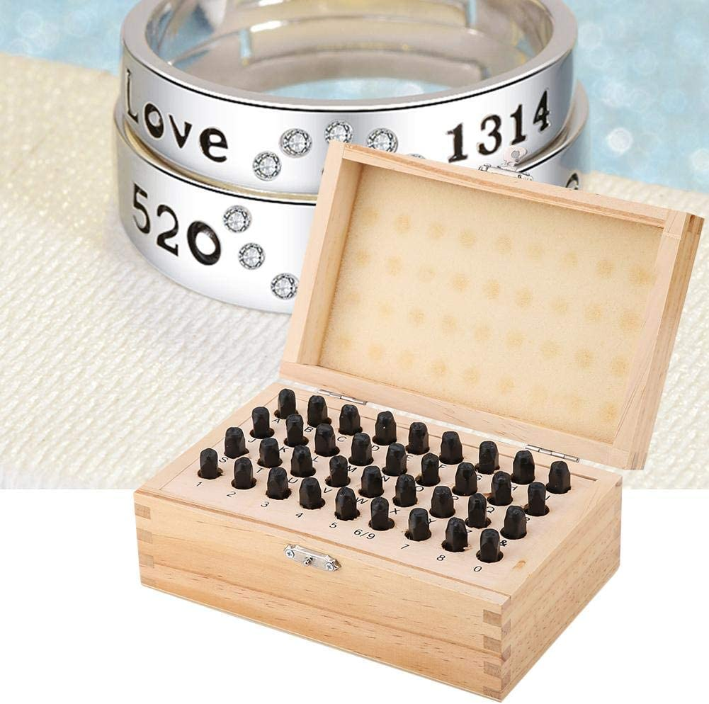sococo Letter and Number Metal Stamping Kit, 6mm Steel Stamp Punch Set Alphabet Letter & Number Die Tool with Wooden Storage Box, Set of 36pcs