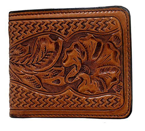 Hand Tooled Leather Wallet (Western Hand Tooled Leather Bifold)