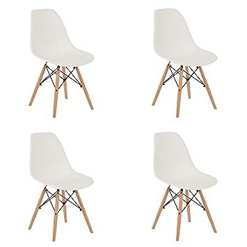 SKLUM Silla Estilo nórdico - Pack de 4 sillas nórdicas - Blanco