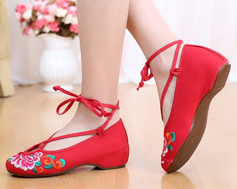 AvaCostume Womens Old Beijing Cross Ankle Strappy Embroidery Dancing Dress Shoes