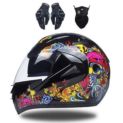 MRDEAR Casco de Moto con Guante Mascarilla, Adultos Modular Integral Casco Moto Set para Ciclomotor Motocicleta y Scooter Mujer Hombre, Doble Visera ...